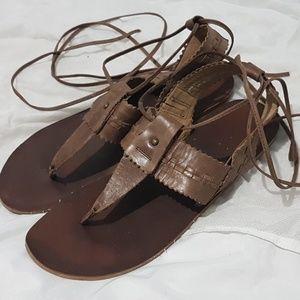 Anthropologie Latigo Brown Leather Sandals 7.5